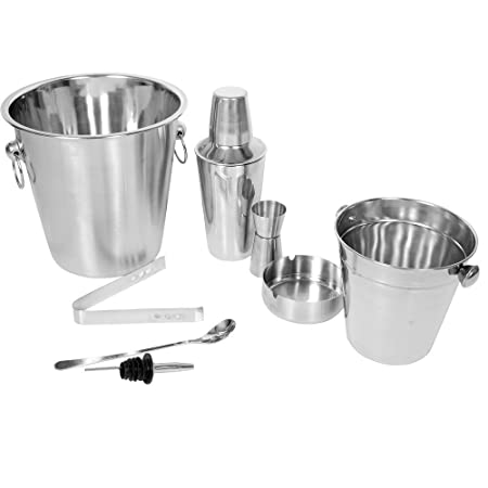 Copper Stainless Steel Cocktail 5 piece Set Ice Bucket Shaker Tongs Spoon Jigger