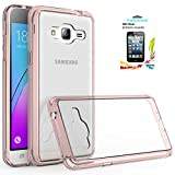 Samsung Galaxy J3V J3 V/J3 (2016) 6 /Sky/Amp Prime /Express Prime/Sol Case Clear,AnoKe Glitter Slim Fit Protective Cell Phone Cases Cover with Screen Protector for Women Girls Men Kids J3 TM Rose Gold
