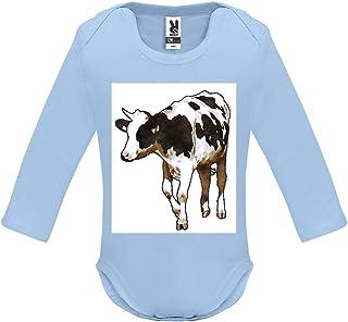 Body bébé - Manche Longue - Dessin de Vache 1 - Bébé Garçon - Bleu - 3MOIS
