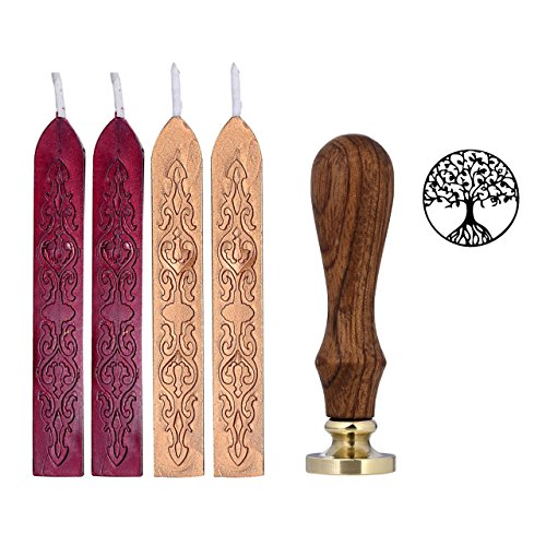 Yoption Wax Seal Stamp Kit, Tree of Life Pattern, 4 Pcs Totem Sealing Wax Sticks with Wick + 1 Pcs Wax Seal Stamp for Decorate and Seal Envelope and Gift Package (Red Wine+Dark Gold+Tree of Life Stamp