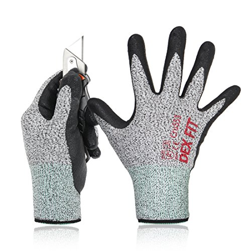 DEX FIT Level 5 Cut Resistant Gloves Cru553, 3D Comfort Stretch Fit, Durable Power Grip Foam Nitrile, Pass FDA Food Contact, Smart Touch, Thin Machine Washable, Grey Large 1 Pair