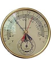 H HILABEE 2-in-1 5inch Ronde Thermometer Meter Outdoor Tuin Patio Zwembad Magazijn Temperatuur Vochtigheid Hygrometer Analoge Gauge Monitor Indicator 0 tot 100%