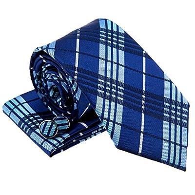Stylish Tartan Plaid Check Woven Men's Tie Necktie w/ Pocket Square & Cufflinks Gift Set