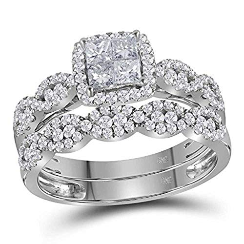 Womens Princess Diamond Halo Bridal Wedding Engagement Ring Band Set 1-Carat tw, in 14K White Gold from Roy Rose Jewelry (Diamond Set Bridal Invisible)
