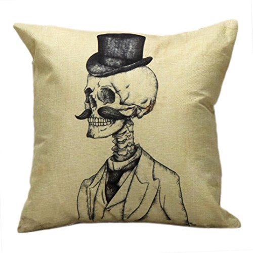 Price comparison product image Challyhope Trendy Throw Pillow Cases Vintage Funny Skull Printed Sofa Waist Cushion Cover Home Decor (Yellow B | The Old Gentleman's Skeleton Pattern)