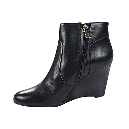 b77f2c0d51cc Tory Burch Milan 85MM Wedge Bootie Equestrian Calf Boots Black Size 8.5   Amazon.ca  Shoes   Handbags
