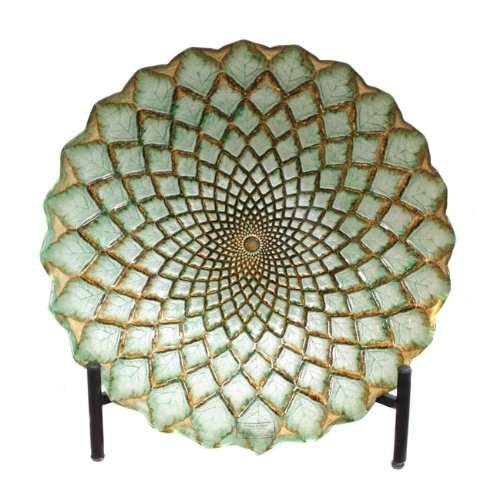 Urban Designs Hand-Painted Gold Weave Artisan Glass Decorative Plate with Stand (Weave Plate)