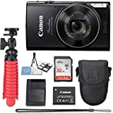 Canon PowerShot ELPH 360 20.2 MP HS Digital Camera (Black) Wi-Fi with 12x Optical Zoom + 32GB Memory Card + Flexible Spider Tripod + Travel Camera Case + Point & Shoot Camera Accessories Bundle