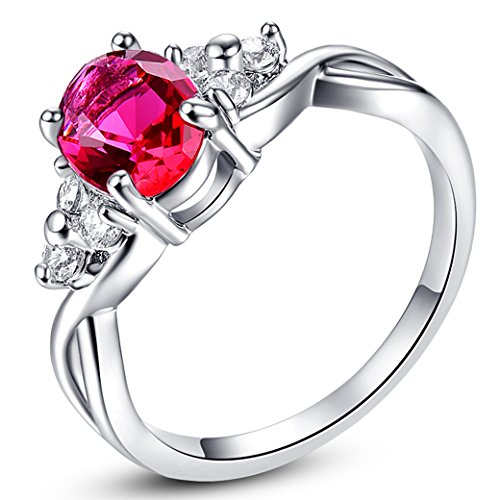 - PAKULA Womens Brilliant 6mmx8mm Oval Cut Ruby Spinel Cubic Zirconia Engagement Ring