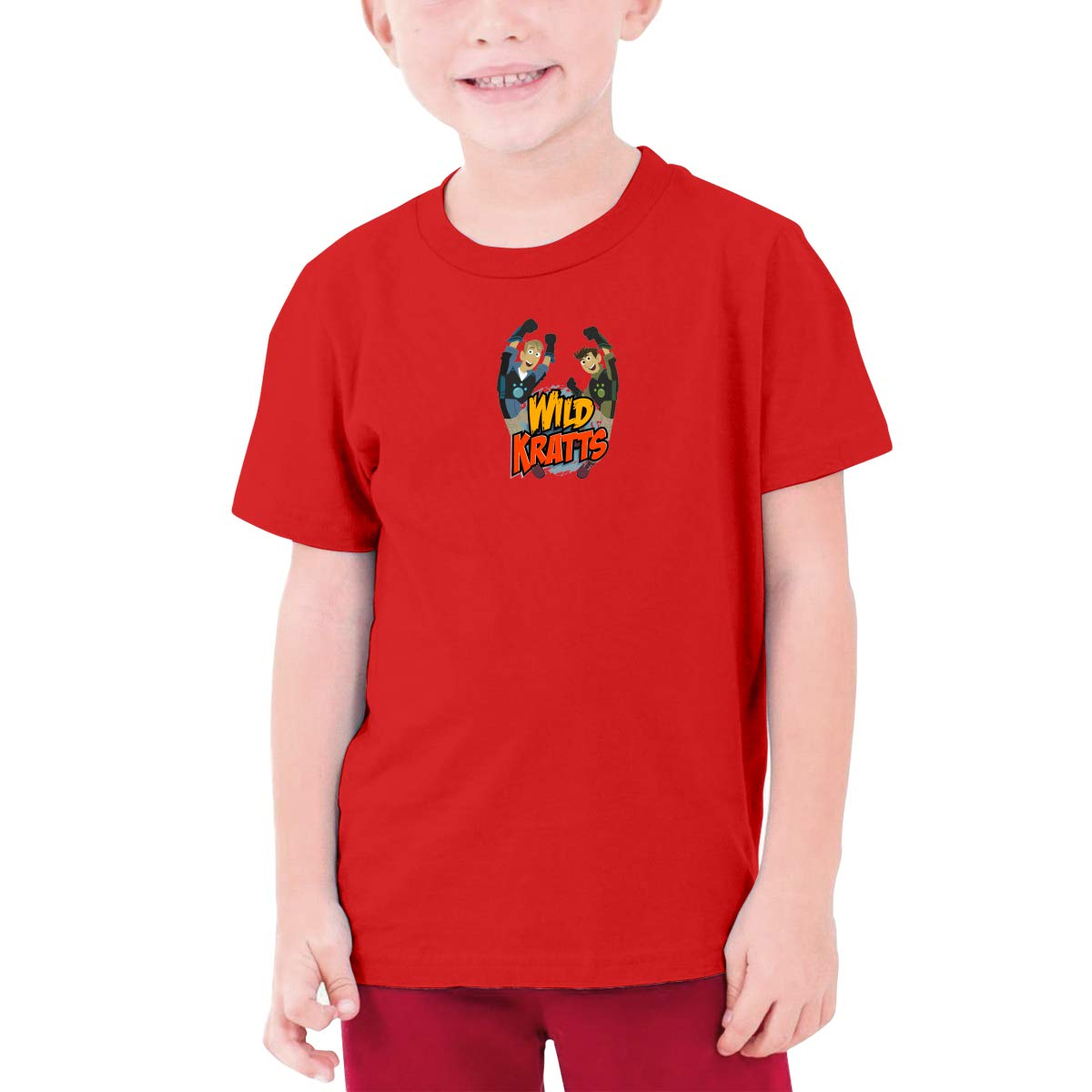 BingFeng Personalized Wild Kratts Brother Funny T Shirt Short Sleeve for Minor Black
