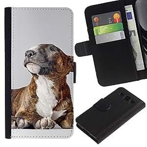 EuroCase - Samsung Galaxy S3 III I9300 - American bullterrier pit bull dog - Cuero PU Delgado caso cubierta Shell Armor Funda Case Cover