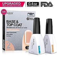 Base Coat No Wipe Top Coat Set (2x12ml)for UV LED Gel Nail Polish LED Nail Lamp 0.4 Ounce Big Capacity by AZUREBEAUTY
