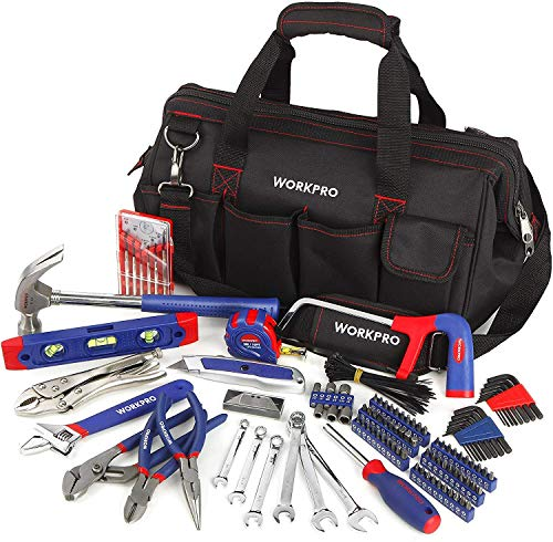 WORKPRO 156-Piece Home Repair Tool Set - Daily Use Hand Tool Kit with Wide Open Mouth Tool Bag - Durable, Long Lasting Tools - Perfect for DIY, Home Maintenance from WORKPRO