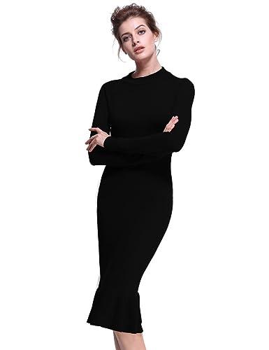 PrettyGuide Women Mock Neck Elegant Fishtail Wiggle Ruffle Midi Sweater Dress