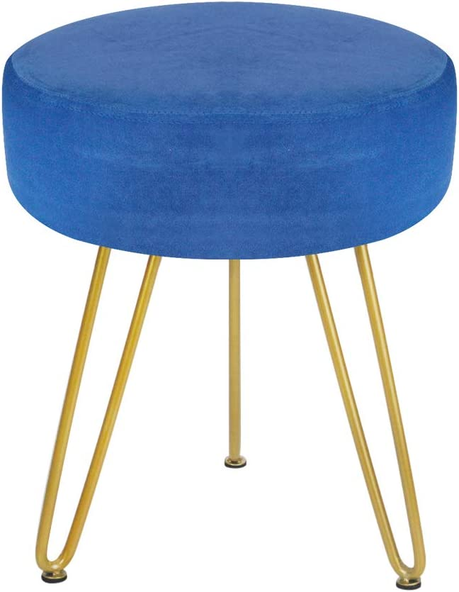 Velvet Footrest Stool Ottoman Round Modern Upholstered Vanity Footstool Side Table Seat Dressing Chair with Golden Metal Leg (blu)