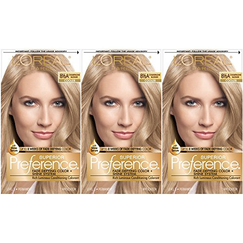 L'Oréal Paris Superior Preference Fade-Defying + Shine Permanent Hair Color, 8.5A Champagne Blonde, 3 COUNT Hair - 8.5a Champagne