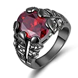 Huanhuan Men's Huge Oval Cut Red Garnet CZ Black Gold Plated Rings Gifts Size 8 to 11