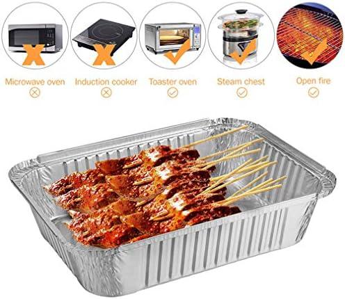 AFFC Cuisine Barbecue Aluminium Feuille Plateau Bol jetable Plat bac à légumes Alimentaire Non Couvert Plat de Cuisson,10pc