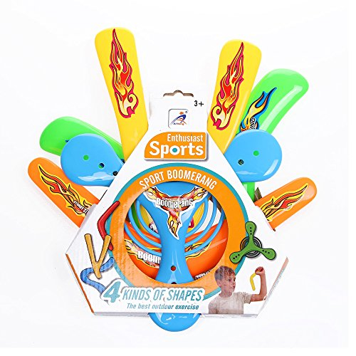 Kidcia 4 Pcs Boomerang Toy Set for Kids-Fun Flying Toys for Lawn and Yard Game