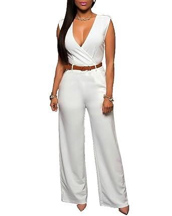 2019 authentique magasiner pour le luxe 2019 meilleurs Femmes Combinaison Pantalon Large Rompers sans Manches Partie De Soirée  Jumpsuit Pantalons avec Ceinture