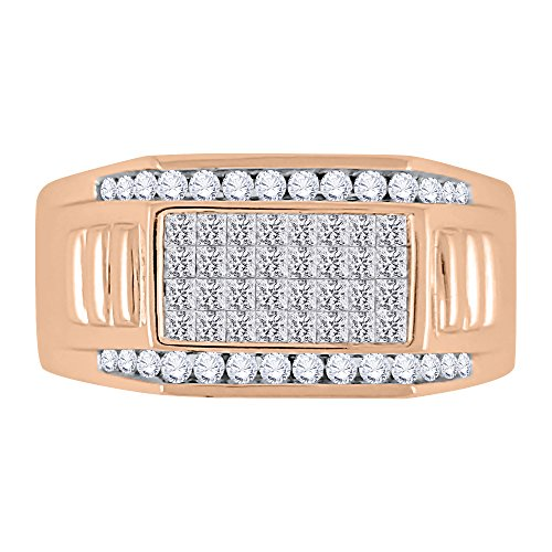 KATARINA Round and Princess Cut Diamond Men's Ring in 10K Rose Gold (1 cttw, G-H, VS2-SI1) (Size-12.5)