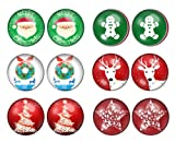 6 Pairs Christmas Winter Festive Xmas Unisex Stainless Steel Stud Earrings Set (Set B)