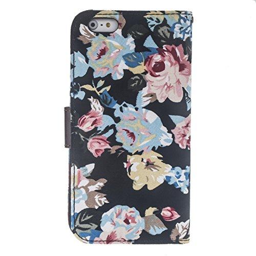 tinxi® Etui de protection en cuir PU pour Apple iPhone 6 plus 5.5 pouces housse coque case cover avec fonction de support et fente de patinage motif fleur noir