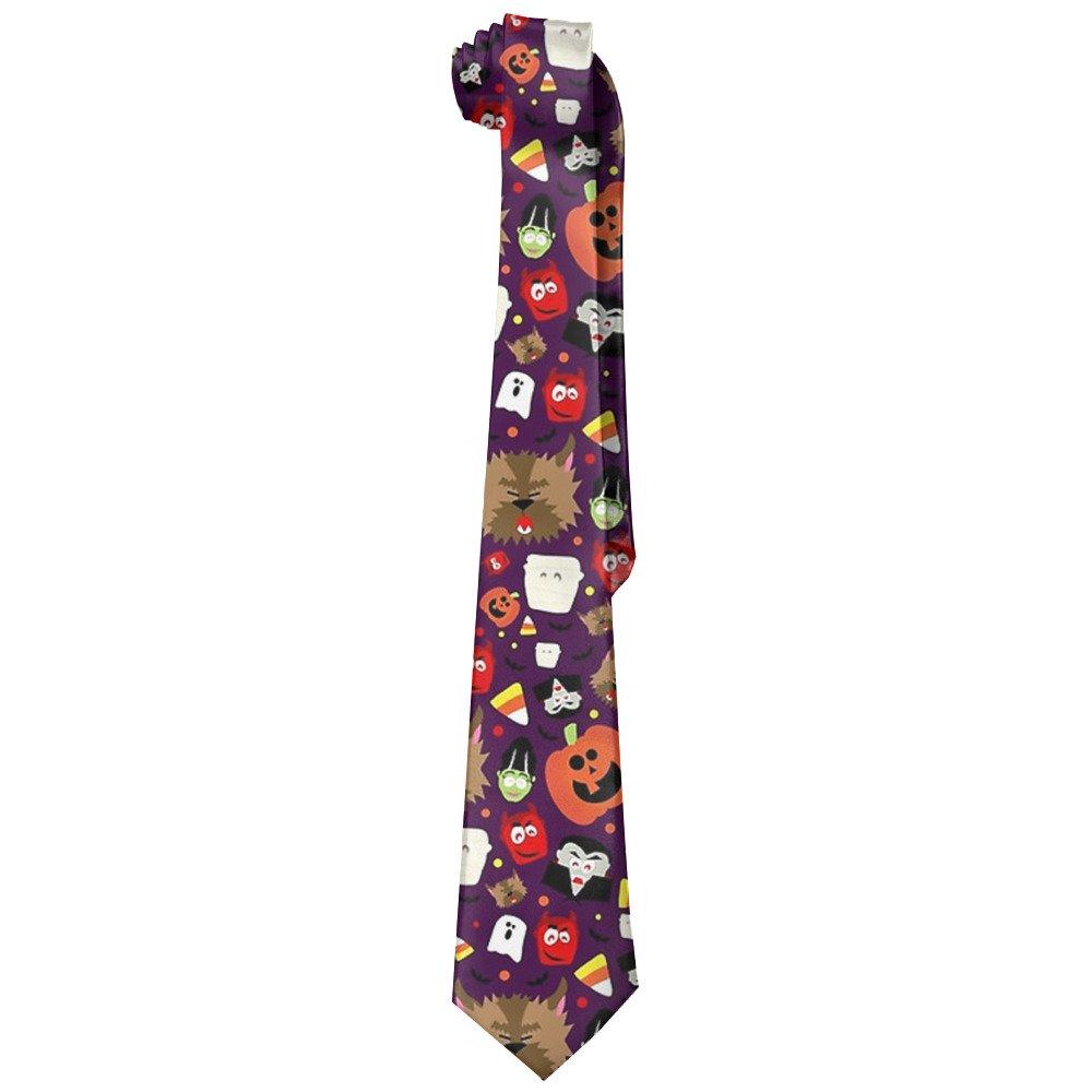 Happy Haunting Halloween Men's Tie Long Necktie Skinny Neckwear Silk