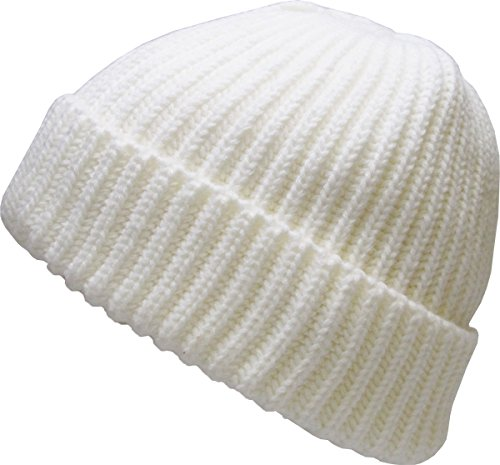 KBW-507 WHT Ribbed Beanie Thick Cuffed Ski Hat Skully Winter Cap (Beanie White Ribbed)