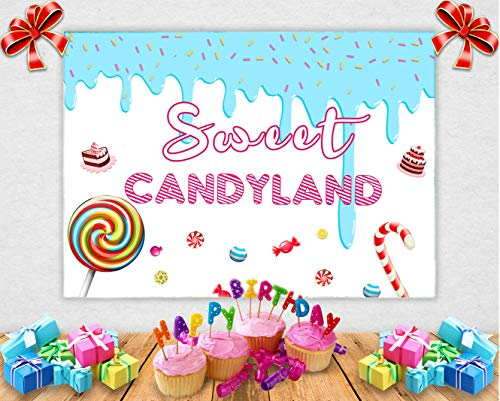 TJ Sweet Candyland Themed Photo Backdrops Girl Birthday Princess Baby Shower Candy Party Decorations Banner Photography Background for Cake Table 7x5ft Vinyl]()
