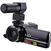SODIAL(R) HDV-301M 1080P 16X Digital Zoom 3 Inch Touch Screen Portable LCD HDV Video Camcorder With Microphone Black