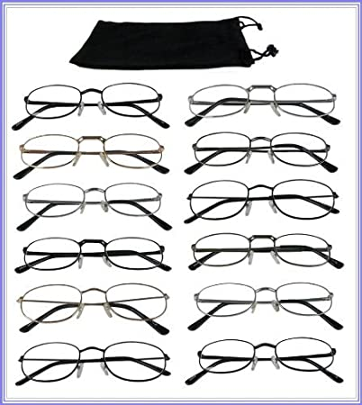 a5149ef317c Image Unavailable. Image not available for. Color  Reading Glasses  + 2.00  Wholesale  Lot 12 Pair Metal Frame Reader Assorted Styles 2.00