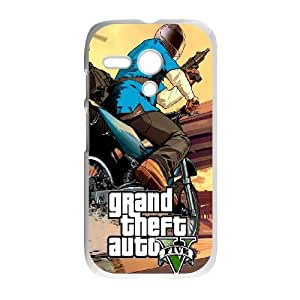 Motorola G Cell Phone Case White GTA 5 Bike ChaseSLI_837846