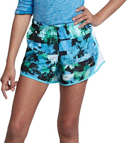 Fit Tempo Running Nike Women Shorts Dri (Nike Girls' Dry Tempo Printed Running Shorts(Light Blue Fury, L))