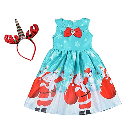 Flower Baby Girls Christmas Princess Dress Outfits Pageant Kids Reindeer Snowflake Xmas Gifts Unicorn Costume Fancy Santa Holiday Party Elk Polka Dot Dress 2PCS Green 2-3 Years -
