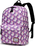 School Backpacks for Girls,VASCHY Cute Lightweight Water-Resistant 14in Padded Laptop Sleeve in Pink Unicorn