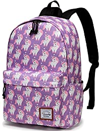 Backpack for Girls, Vaschy Fashion Floral 15 inch School Backpack Laptop Rucksack with Padded Laptop Sleeve(Pink Unicorn)