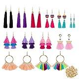 12 Pairs Colorful Thread Tassel Earrings Hoop Earrings, Fan-shaped Drop Earrings, Long Fringe Drop Bohemian Earrings and Tiered Dangle Earrings Gift Set for Women Girls Accessories (100 Earring Backs)