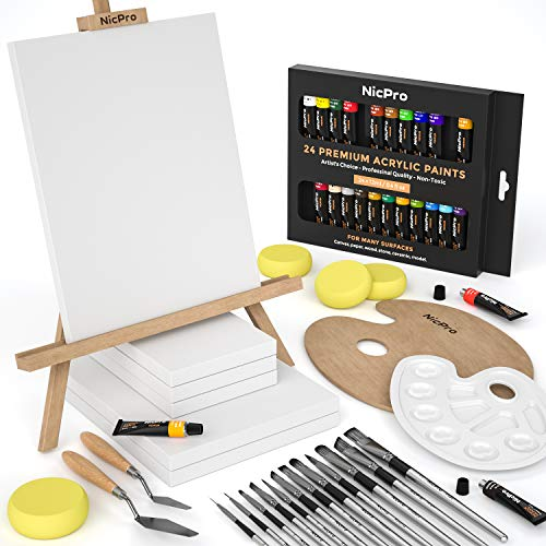Nicpro Complete Acrylic Paint Set, Canvas Painting Kit with 24 Rich Pigment Colors (12ml) 12 Brushes, Wooden Easel, Beginner Art Supplies for Adult, Student & Kid