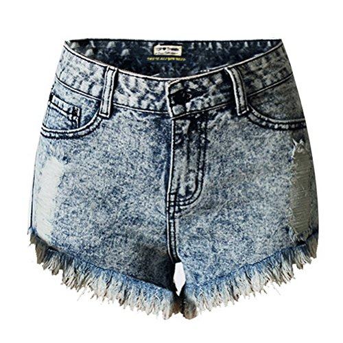 Taille Court Bleu Rtro Haut Jeans Short Pantalon BIUBIONG Dlav Dchir Casual Femme Mode Et Denim Pants wqpfxIz