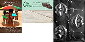 """Cybrtrayd 'Large Lips Lolly' Valentine Chocolate Candy Mold with 25 4.5"""" Lollipop Sticks & Chocolatier's Guide"""