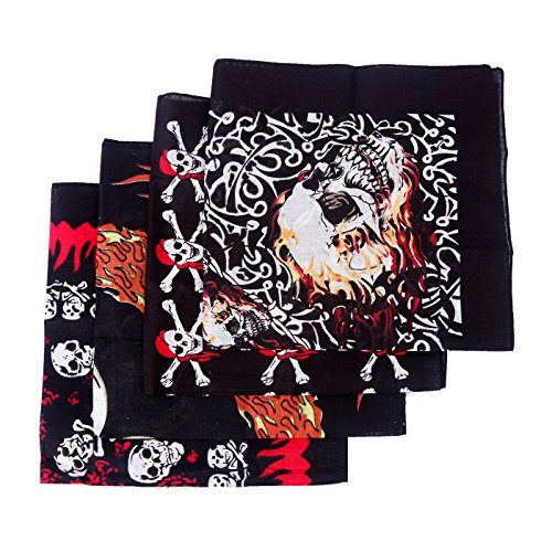 HDE 4-Pack Bandana Flaming Skull Motorcycle Biker Handkerchief Head Wrap Doo Rag (Skull Mix) Eagle Bandana