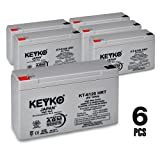 Efi Electronics Corporation Sysgarde 505 6V 12Ah AGM - SLA Sealed Lead Acid HIGH RATE Deep Cycle Battery for UPS Wheelchair Scooter and Mobility Genuine KEYKO - F1 Terminal F2 Adapter - 6 Pack