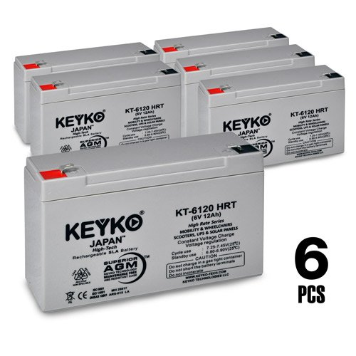 Mallard Teal 2C5A73 6V 12Ah AGM - SLA Sealed Lead Acid HIGH RATE Deep Cycle Battery for UPS Wheelchair Scooter and Mobility Genuine KEYKO - F1 Terminal F2 Adapter - 6 Pack by KEYKO