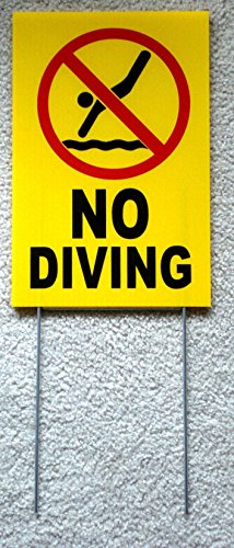1 Pc Impassioned Unique No Diving Symbols Sign Beach Coroplast Swiming Printed Plastic Declare At Your Own Risk Danger Signs Swimming Pool Poster Outdoor Pond Lifeguard On Duty Size 8 X12  W  Stake