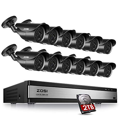 ZOSI 16CH 1080P DVR 12pcs Waterproof Cameras Security System & 2TB Hard Drive – with Motion Detection 120ft Night Vision for Outdoor Indoor Office Home Security