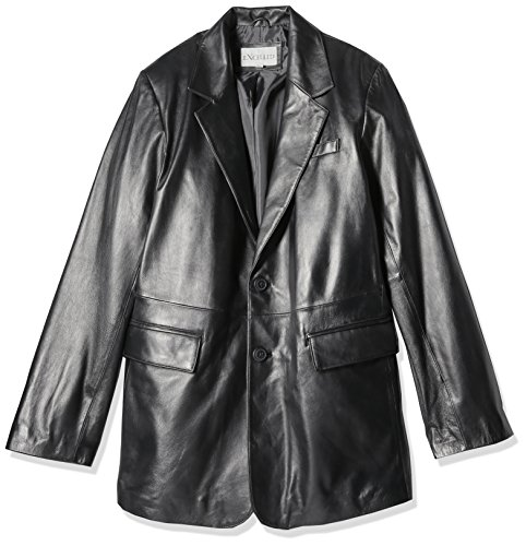 (Excelled Men's Tall Size Lambskin Leather Blazer, Black, 46)