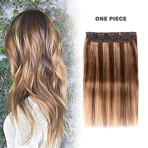Winsky Clip in Real Hair Extensions Human Hair 5clips 55g - 1 Piece Soft Straight 3/4 Full Head Ombre Hair Pieces for Women (16inch, Medium Brown to Light Brown #4-27 Color) -