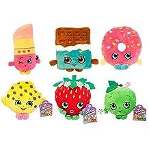 "Shopkins Series 2 Plush 6 Pcs 6""-8"" Bundle Set- 6 Items: Cheeky Chocolate, D'lish Donut, Lippy Lips, Kookie Cookie, Strawberry Kiss and Apple Blossom"