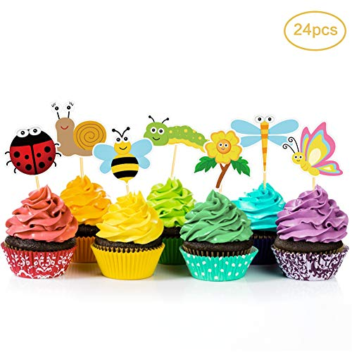 24Pcs Spring Summer Insects Cupcake Toppers,Birthday Party Supplies, Cake Decorations,Dessert Food Picks,Birthday Party Toppers Picks Decorations for Girls,Boys,Kids Home,Classroom,Baby Showers